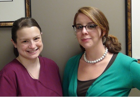 One of HCP's extraordinary hospice CNA's Sarah Jefferies (lt) with article author and office assistant Mary Finn.