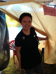 "Pam Hiransomboon-Vogel modeling her ""exam room"" in Nangaiza."