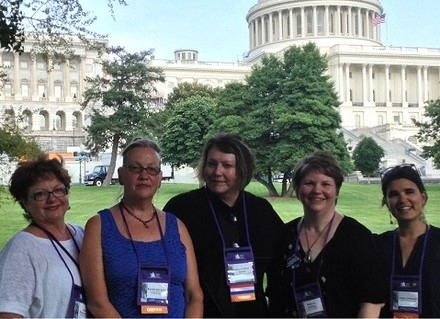 The Oregon delegation (lt. to rt.) Linda Furman Grile and Karen Schramm (South Coast Hospice), Deborah Whiting Jaques (Oregon Hospice Association), Rebecca Ashling (Housecall Providers), and Jessica Fishman (Providence).