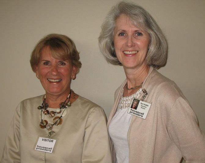 Linda Colantino (lt), senior research analyst with the Center for Medicare and Medicaid Services and team lead for IAH with Executive Director Terri Hobbs.