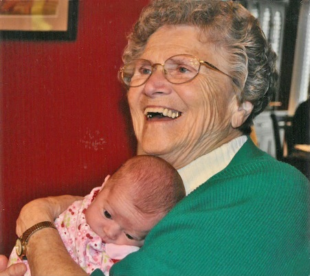 Irene thoroughly enjoying a moment with her great granddaughter, Emily.