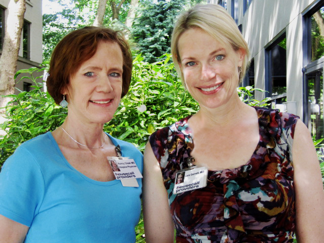 Hospice physicians Nancy Cloak (l) and Lara Garrett. Dr. Cloak was recently named hospice medical director at Housecall Providers.